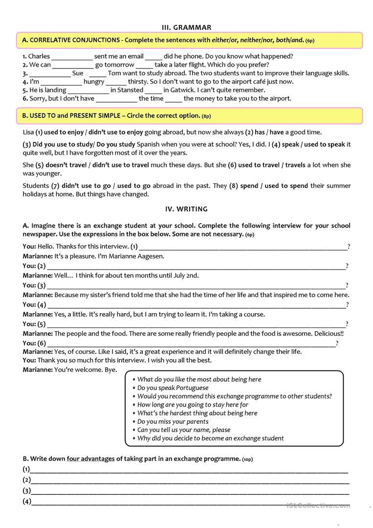 9th Grade Grammar Worksheets Exchange Programmes Test A2 B1 9th Grade Version B