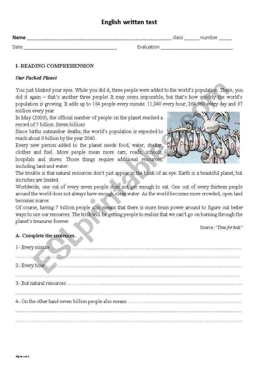 9th Grade Reading Comprehension Worksheet English Test 9th Grade World Population and Environment