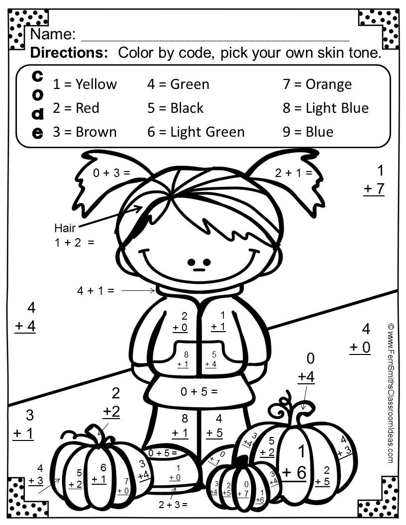 Addition Coloring Worksheets 2nd Grade Coloring Book Math Coloring Pages Color by Number Addition