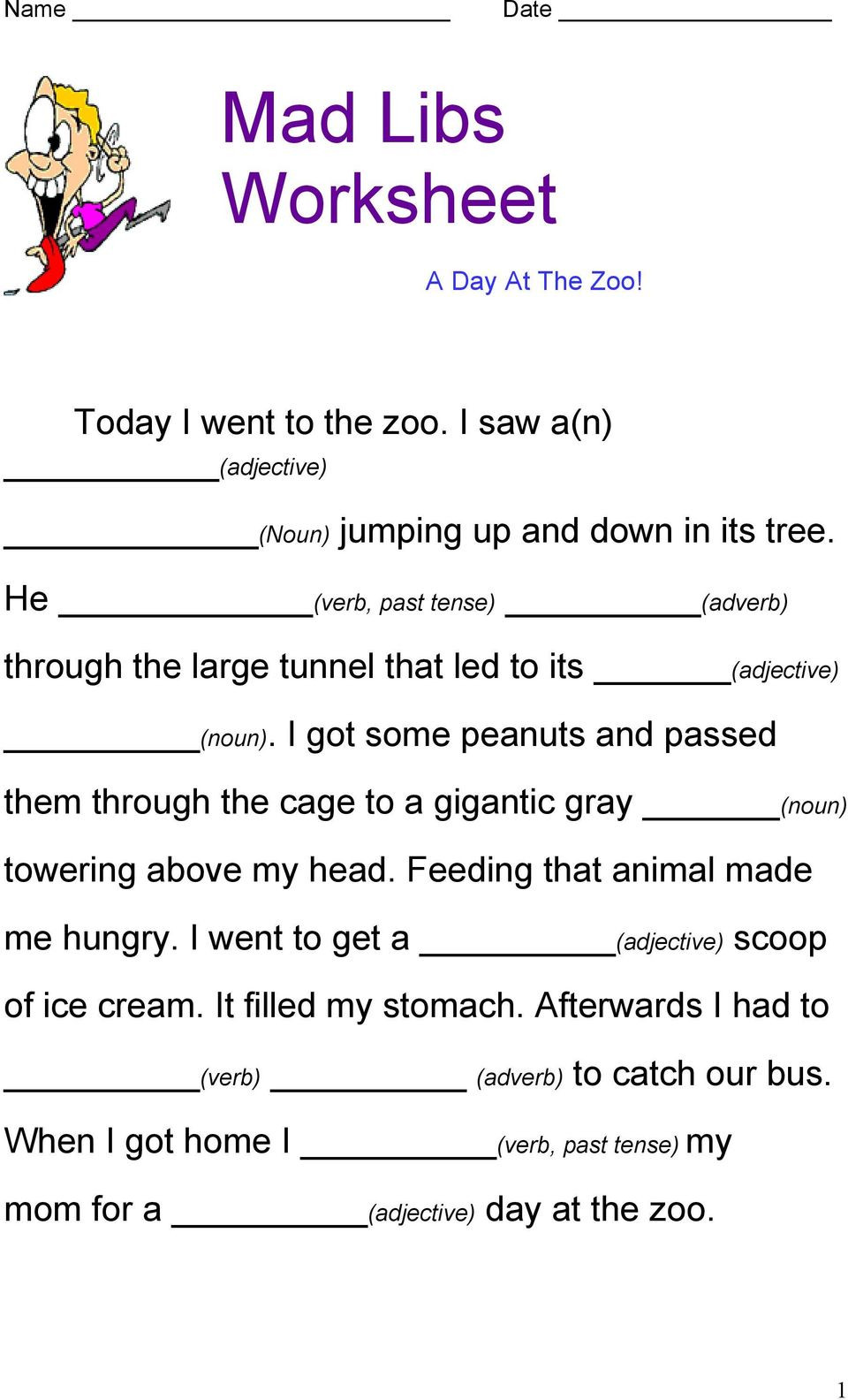 Adjective Worksheets 2nd Grade Mad Libs Worksheet today Went to the Zoo Saw He Verb