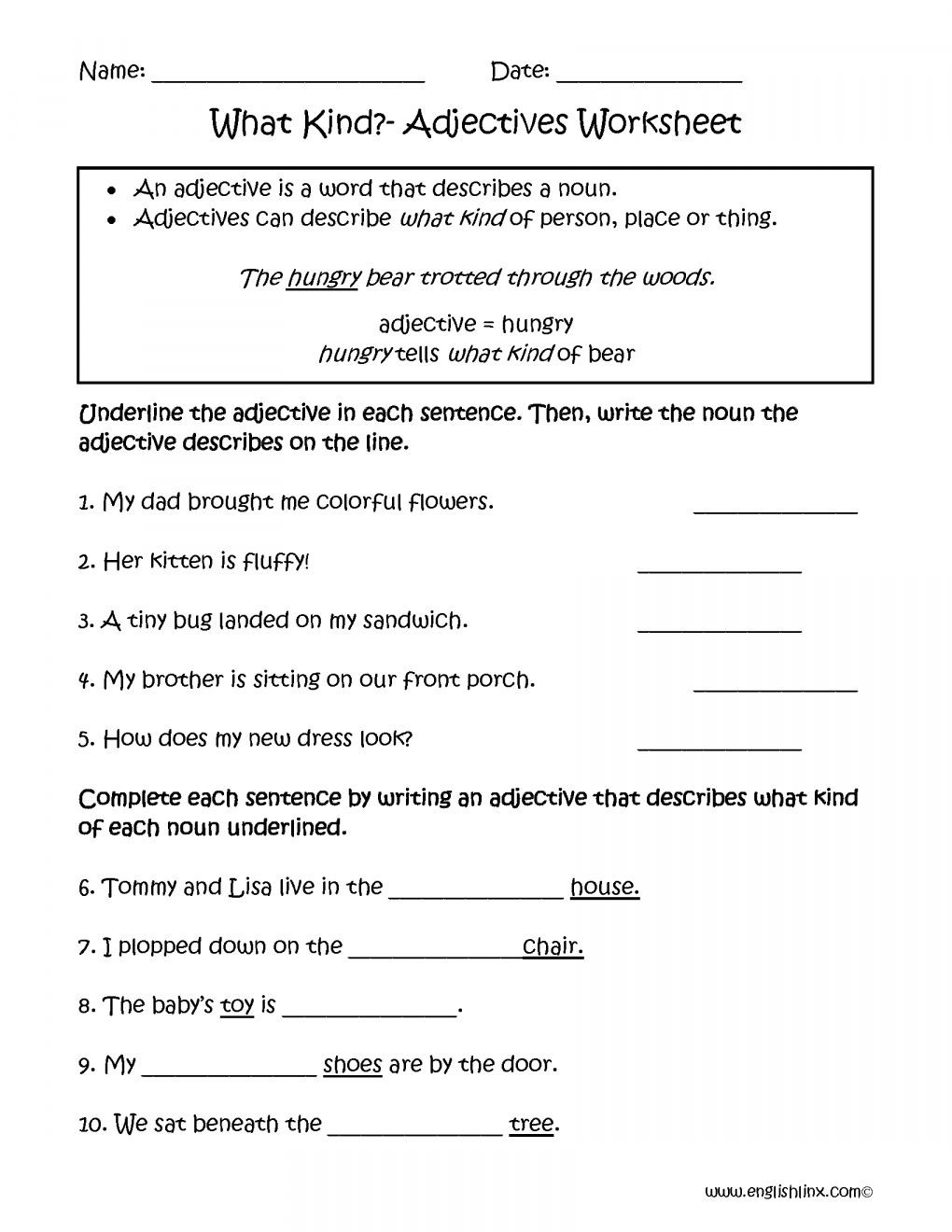 Adjectives Worksheets for Grade 2 Adjectives and Articles Worksheet 4th Grade and Adjectives