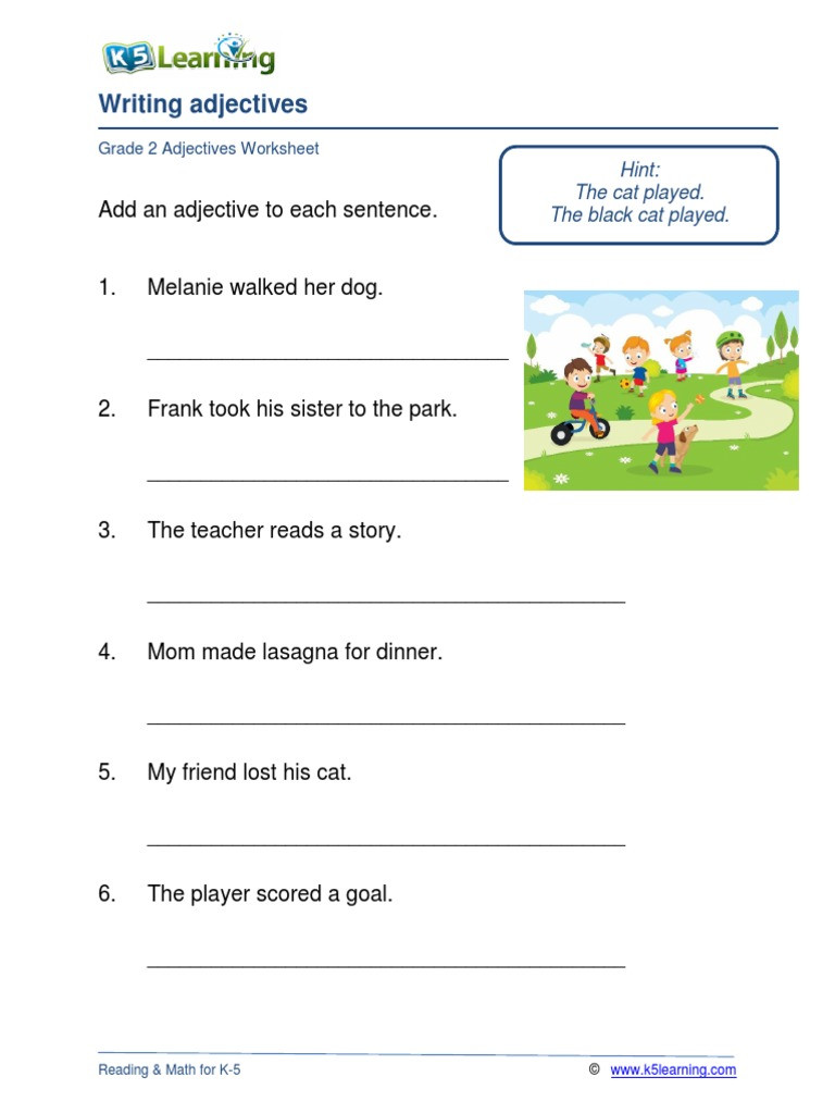 Adjectives Worksheets for Grade 2 Grade 2 Adjectives A