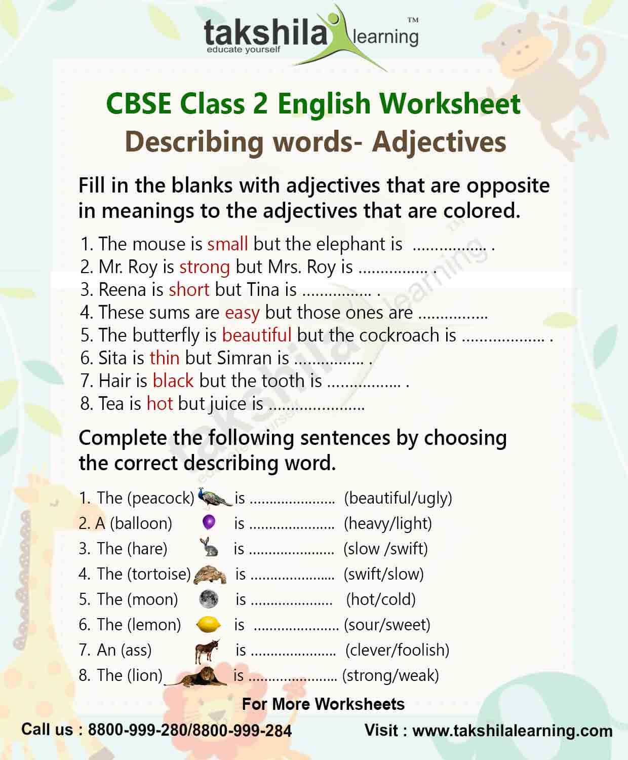 Adjectives Worksheets for Grade 2 Practice Worksheet for Class 2 English Grammar – Adjectives