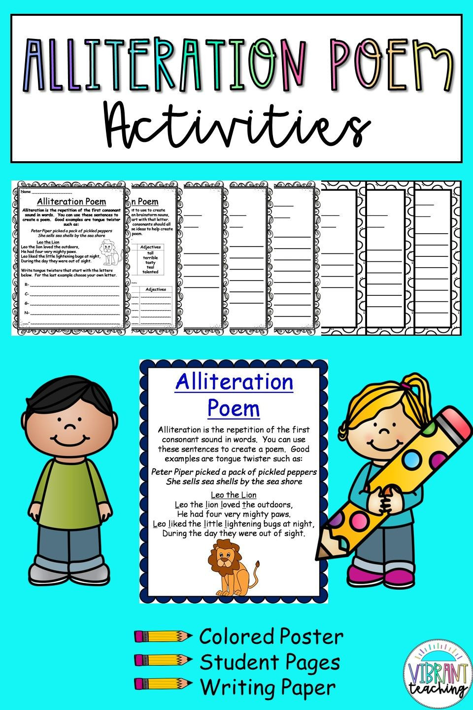 Alliteration Worksheets for Middle School Alliteration Poem Activities In 2020