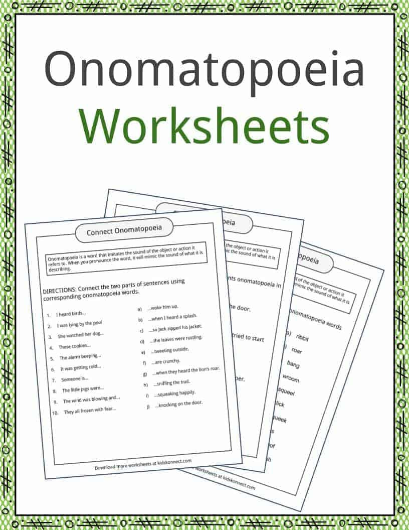 Alliteration Worksheets for Middle School Omatopoeia Examples Definition and Worksheets