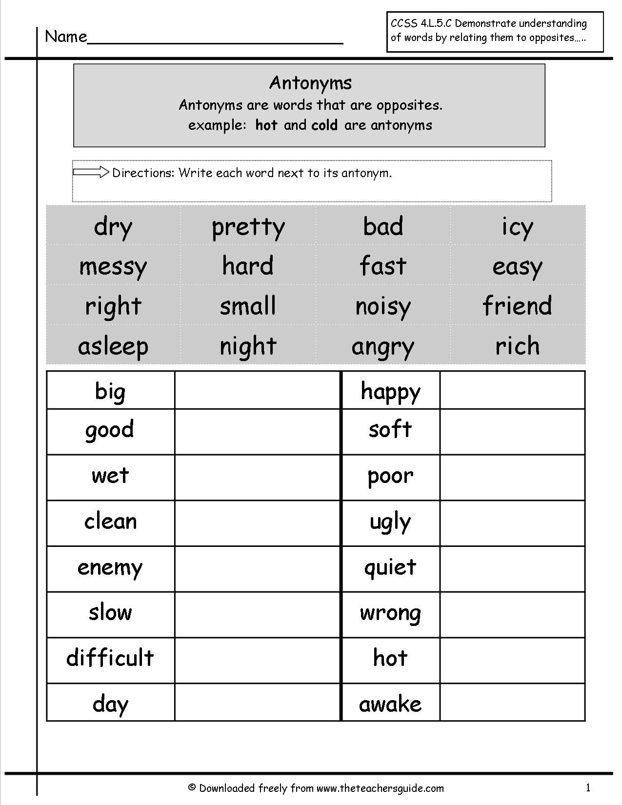 Antonyms Worksheets 3rd Grade 17 Best Synonyms Worksheets Images On Worksheets Ideas
