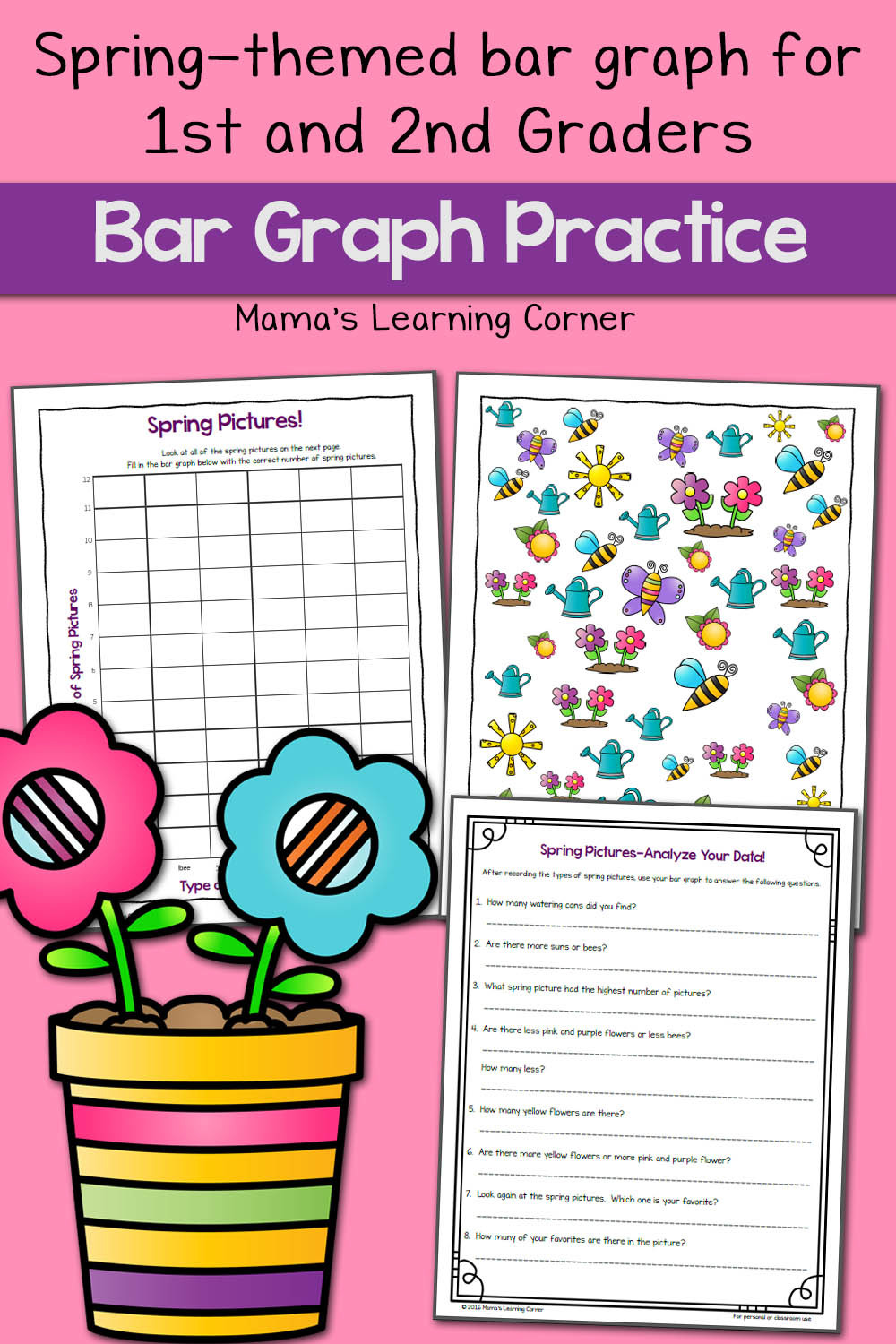 Bar Graph Worksheets 4th Grade Spring Picture Bar Graph Worksheets Mamas Learning Corner