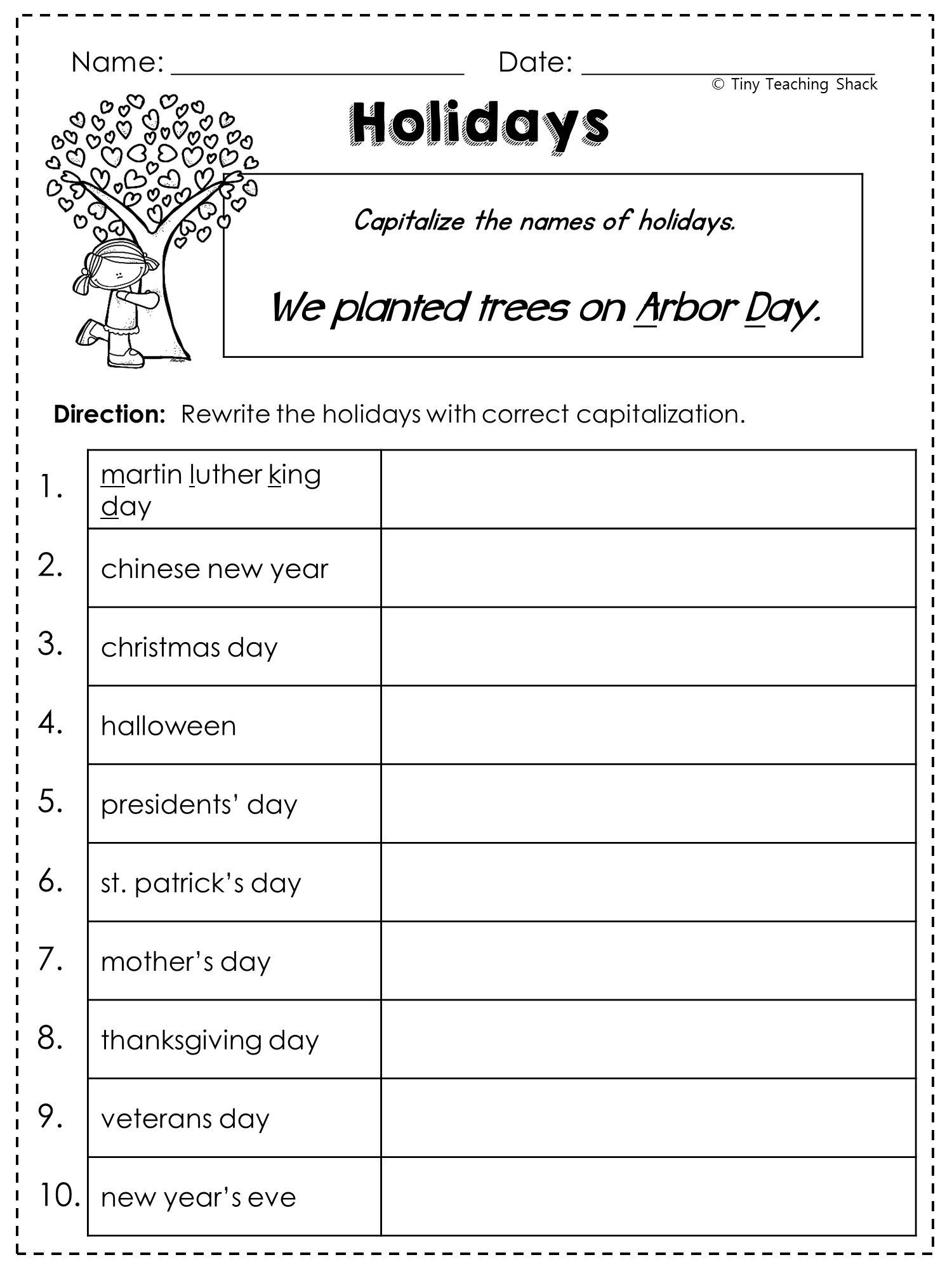 Capitalization Worksheets 4th Grade Pdf 2nd Grade Language Arts and Grammar Practice Sheets Freebie