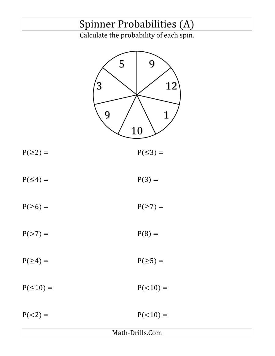 Circle Graphs Worksheets 7th Grade 7 Section Spinner Probabilities A