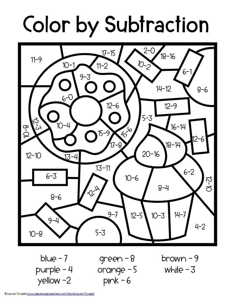 Coloring Math Worksheets 2nd Grade Subtraction Color by Number
