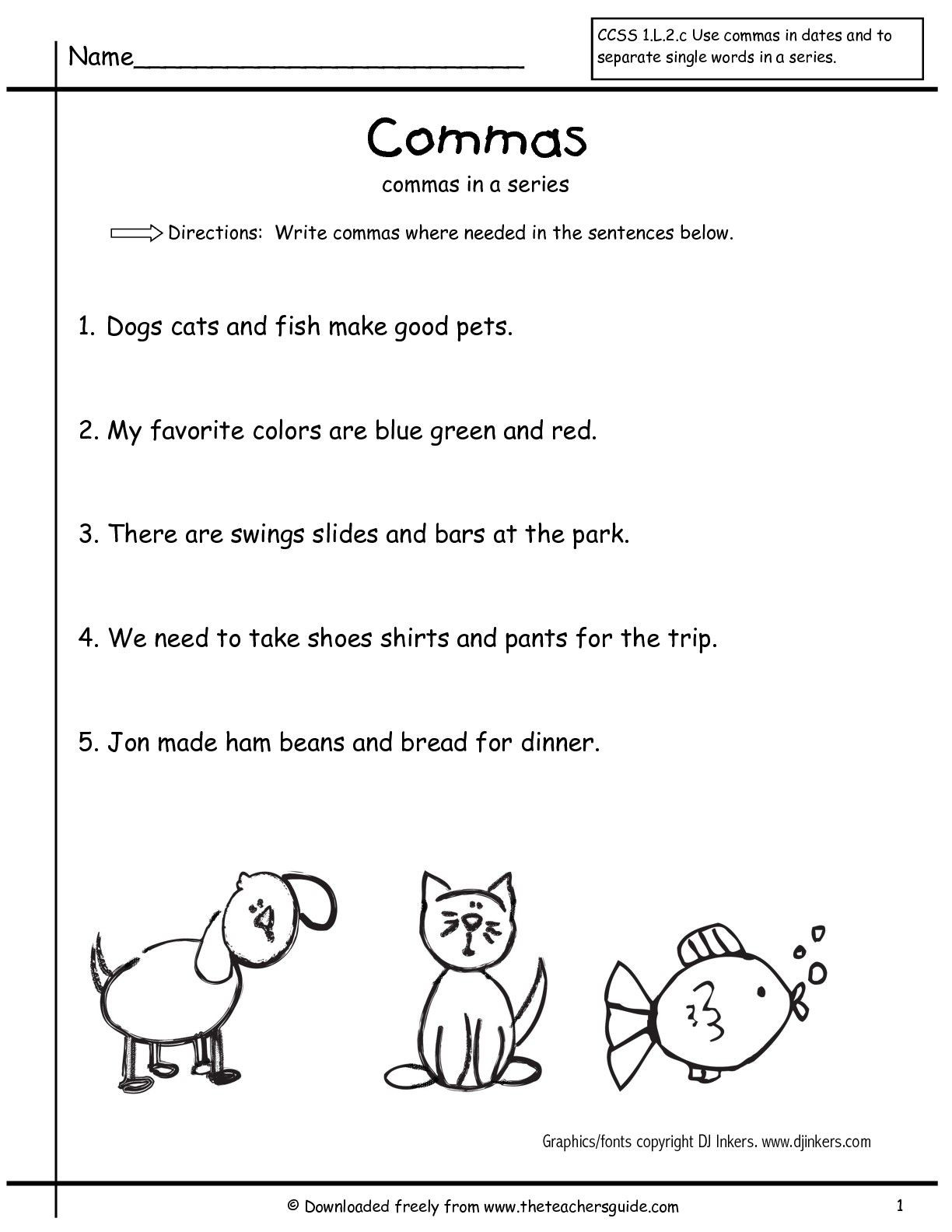 Comma Worksheets 2nd Grade Grammar Worksheets Mas In A Series First Grade Free