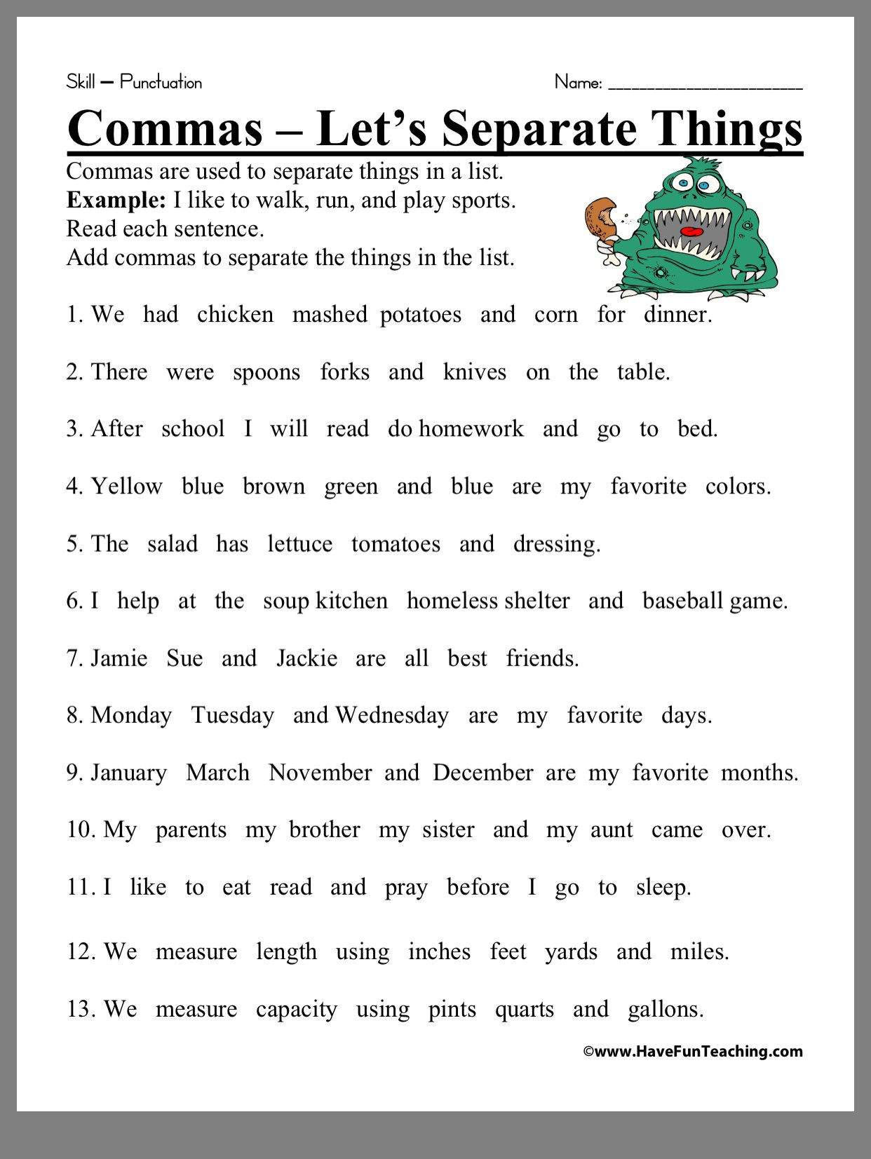 Comma Worksheets Middle School Pin by ashley Fenelon On Classroom