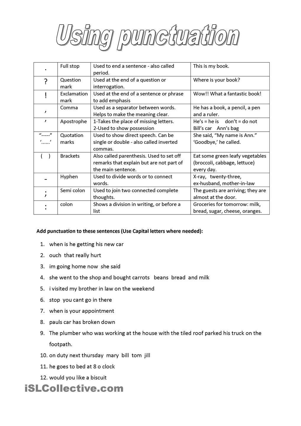 Comma Worksheets Middle School Punctuation