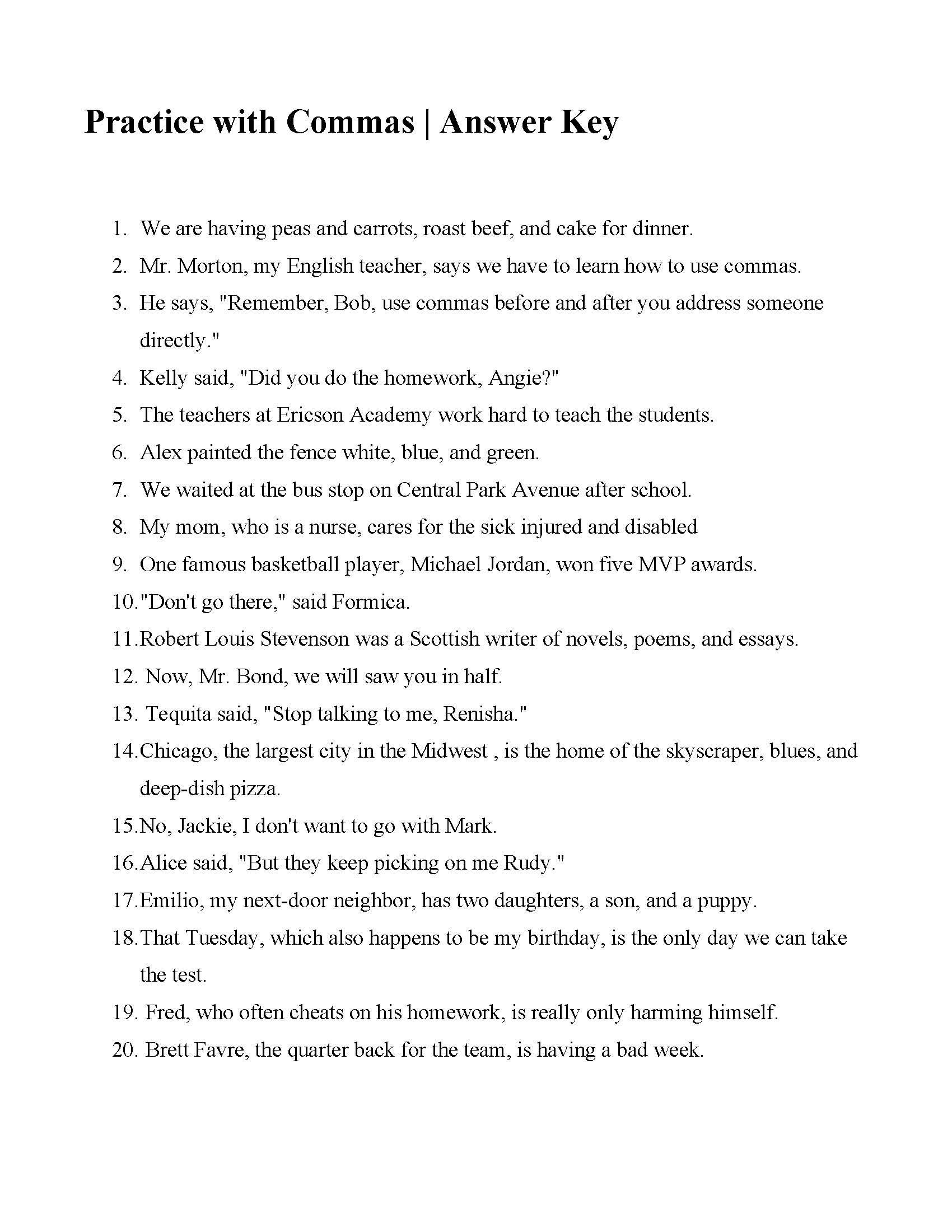 Comma Worksheets Middle School This is the Answer Key for the Practice with Mas