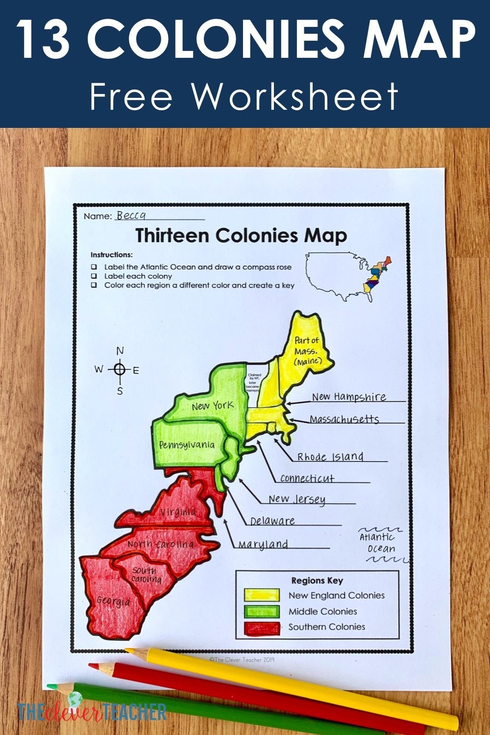 Compass Rose Worksheets Middle School 13 Colonies Free Map Worksheet and Lesson for Students