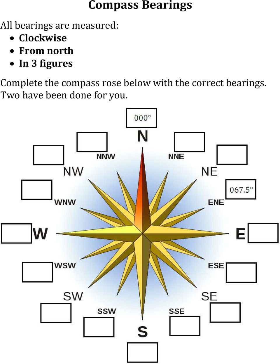 Compass Rose Worksheets Middle School Bearings Worksheets Contents Pdf Free Download
