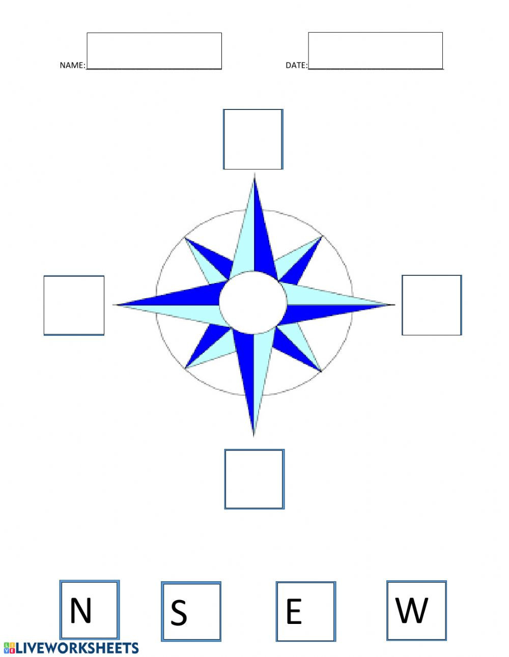 Compass Rose Worksheets Middle School Pass Rose Interactive Worksheet