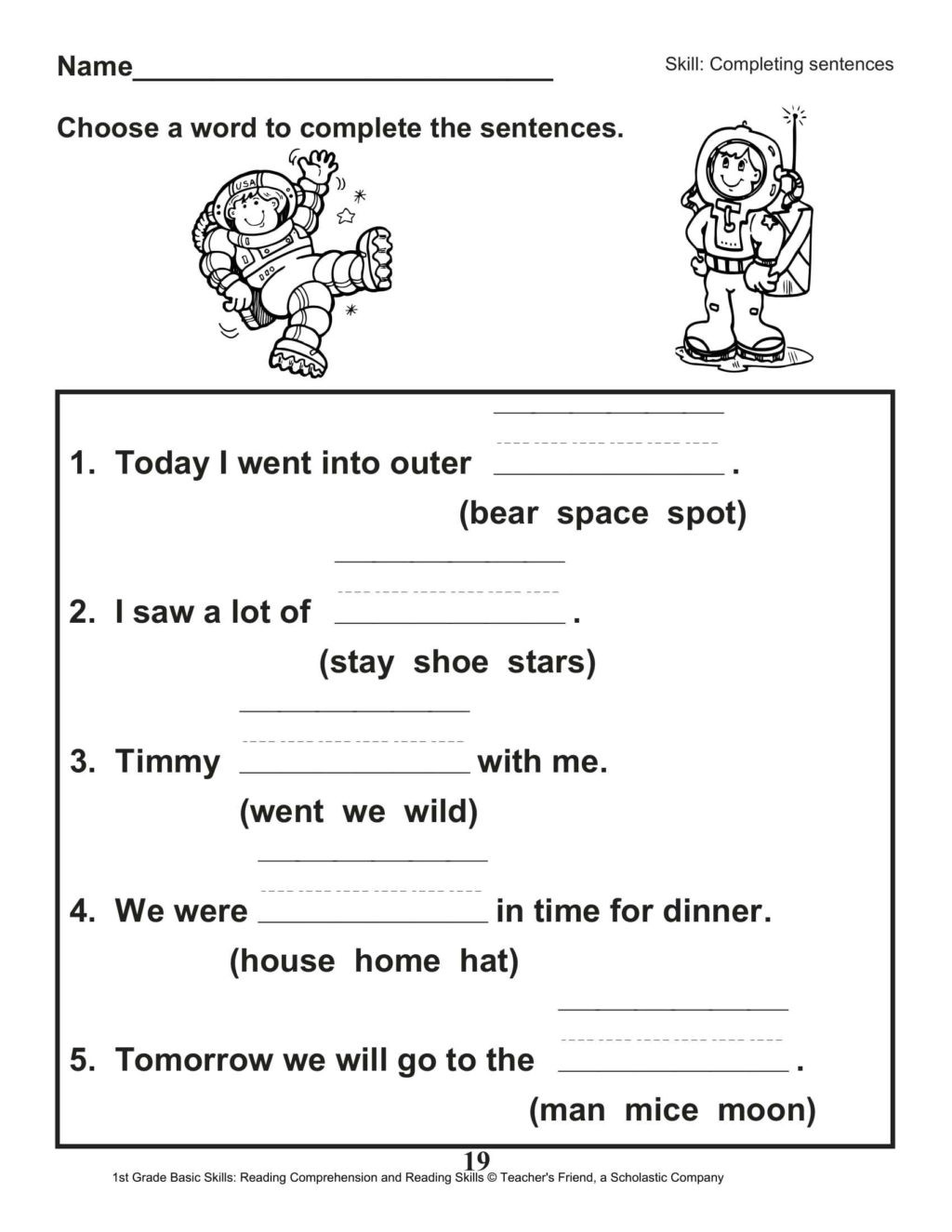Complete Sentence Worksheets 1st Grade Worksheet 1st Gradeeet Reading for Educations Free and