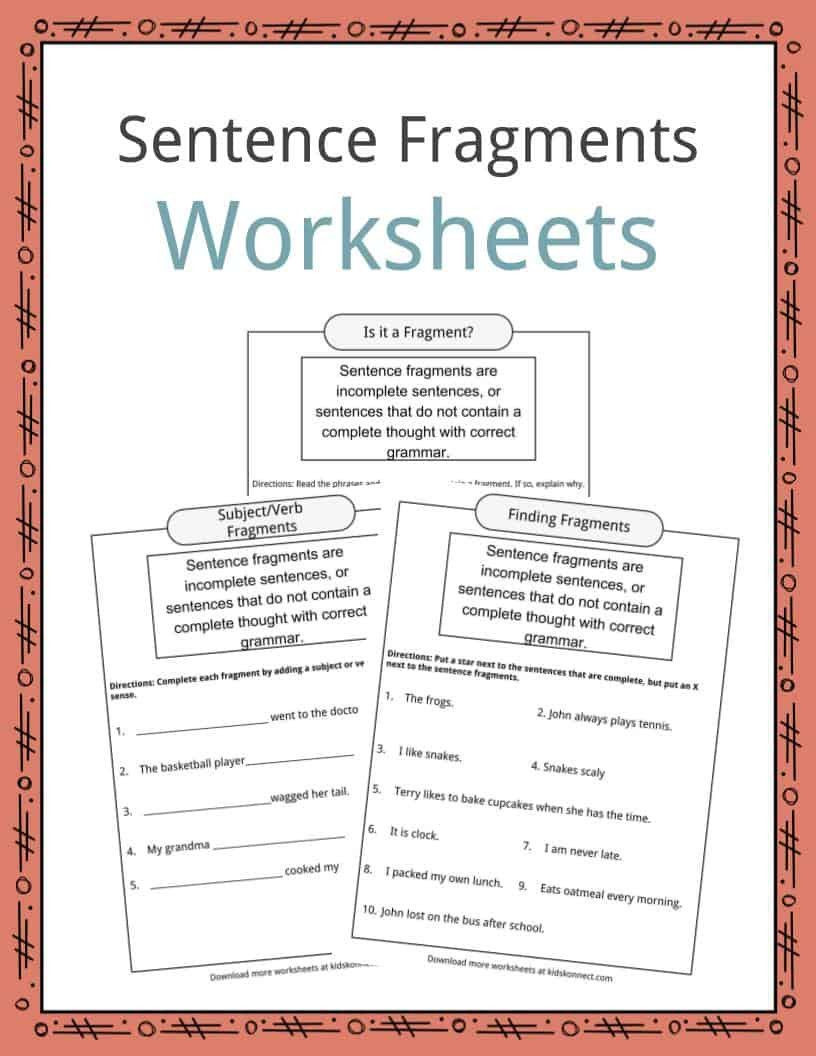 Complete Sentence Worksheets 4th Grade Pin On Educational Worksheets Template