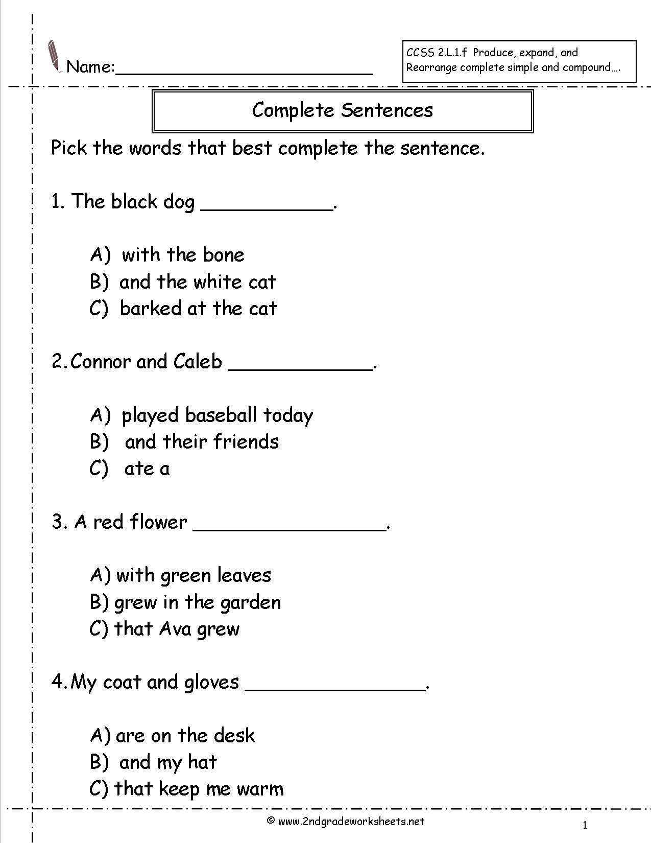 Complete Sentence Worksheets 4th Grade Second Grade Sentences Worksheets Ccss English to Plete