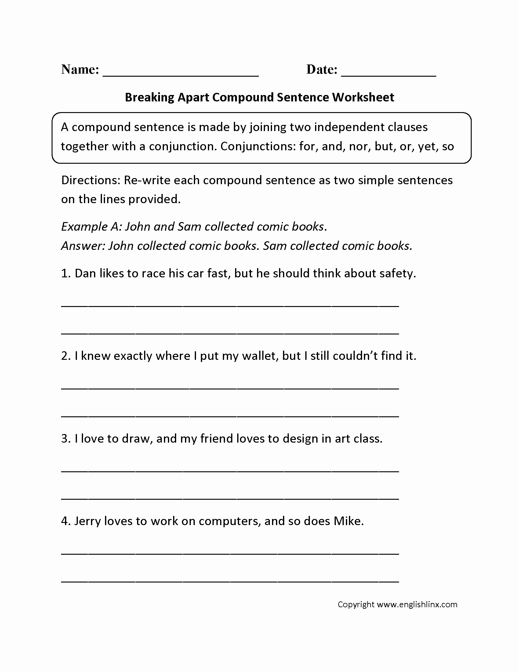 Complex Sentence Worksheets 4th Grade Plex Sentence Worksheets 5th Grade