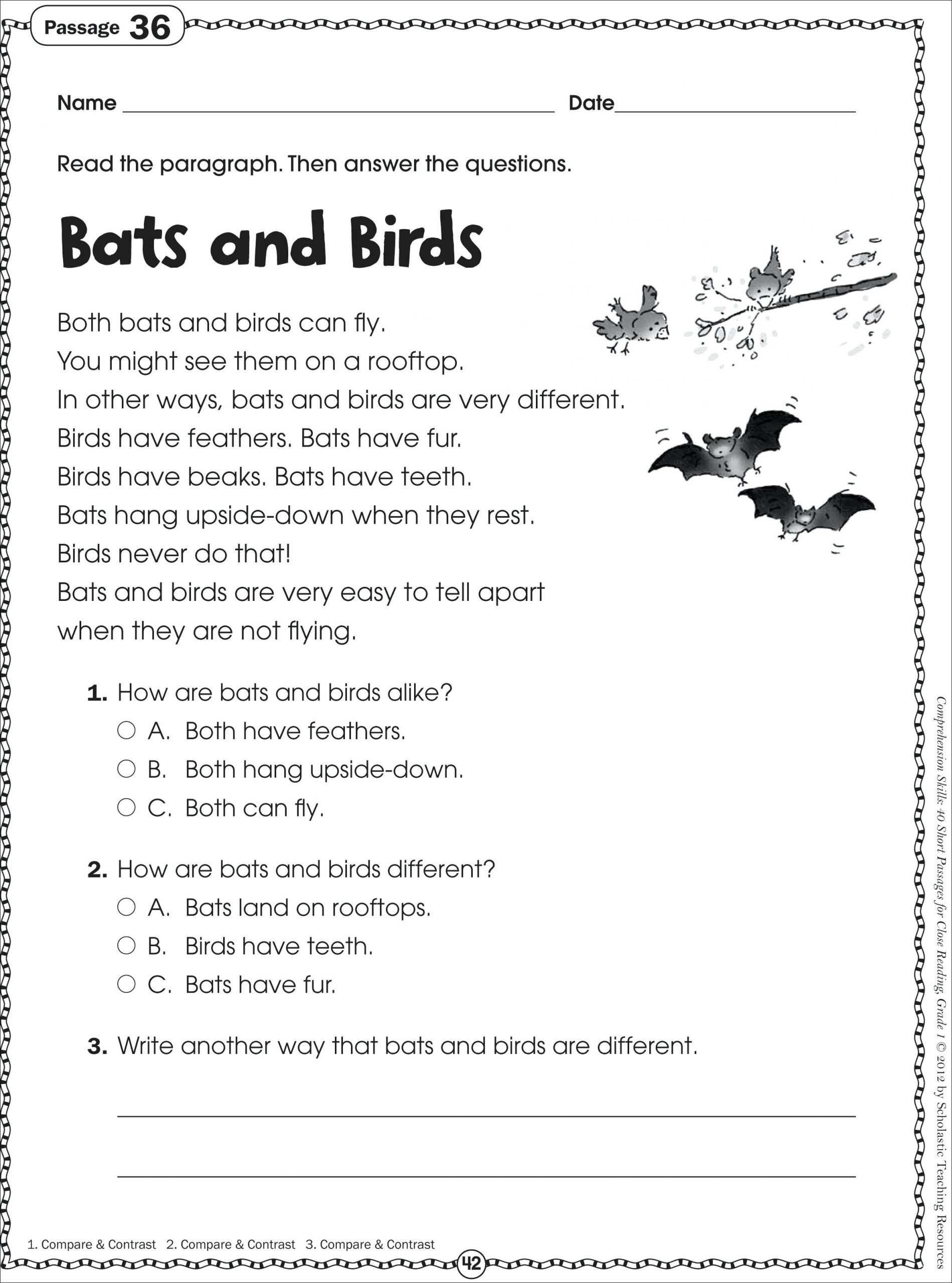 Comprehension Worksheets for First Grade 1st Grade Reading Passages Best solutions First