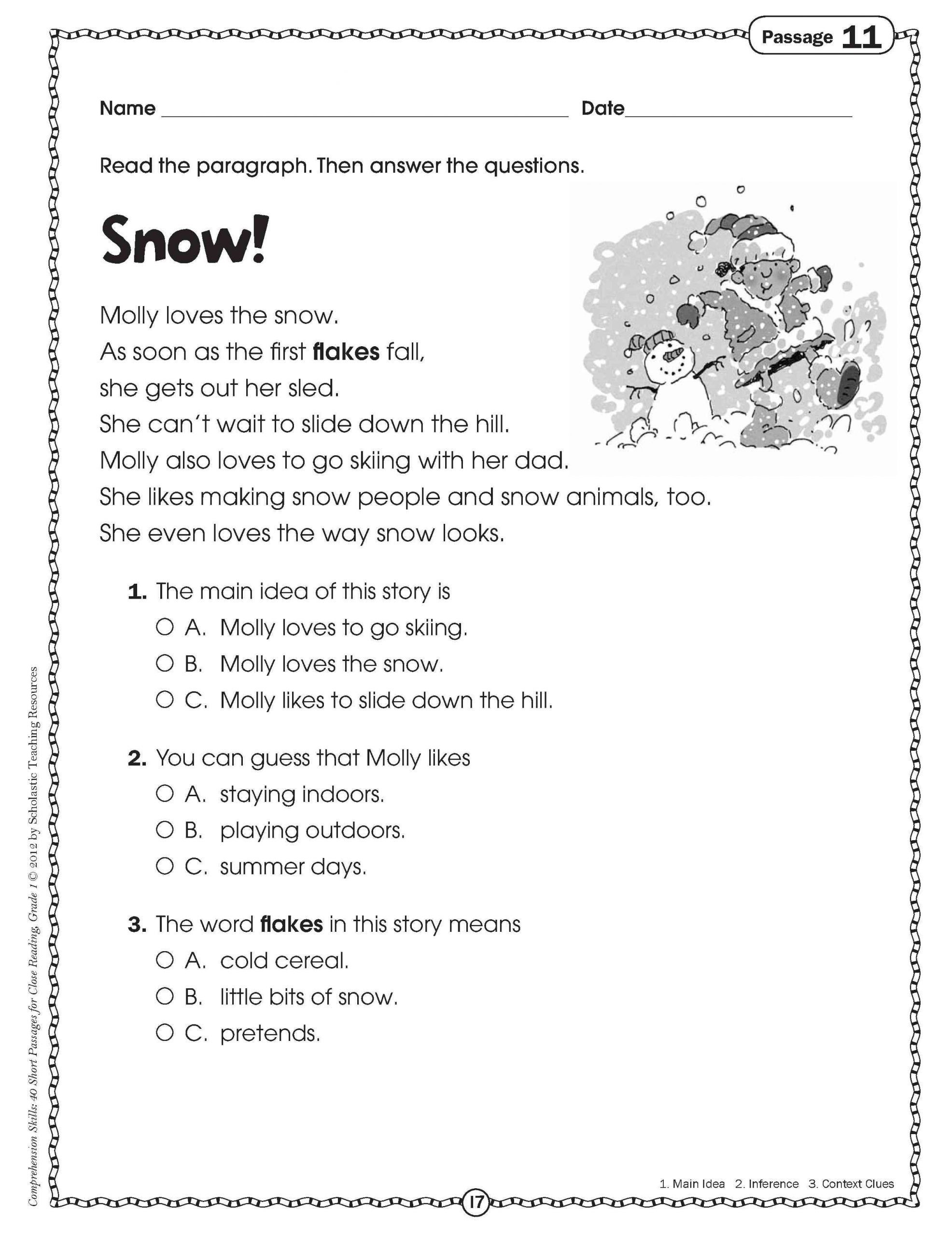 Context Clues Worksheets 1st Grade 4 Sample Grade 1 Reading Prehension In 2020