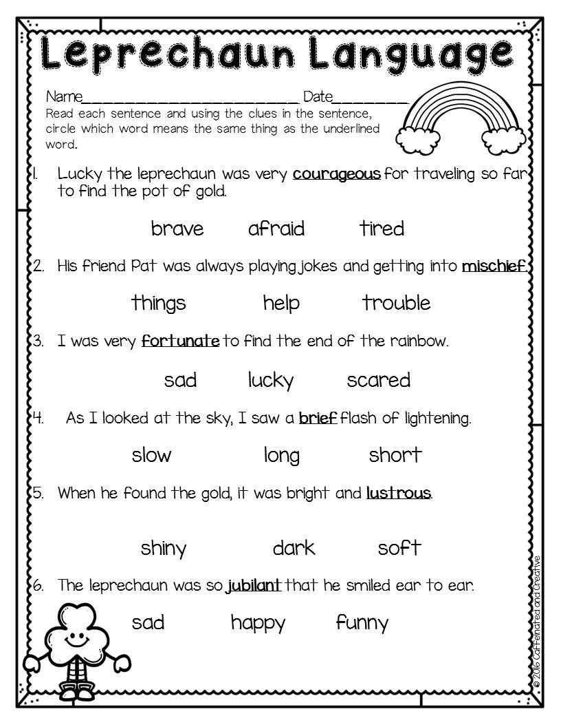 Context Clues Worksheets 1st Grade Spring Into Spring