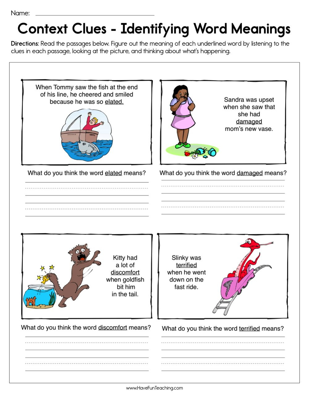 Context Clues Worksheets Second Grade Context Clues Identifying Word Meaning Worksheet