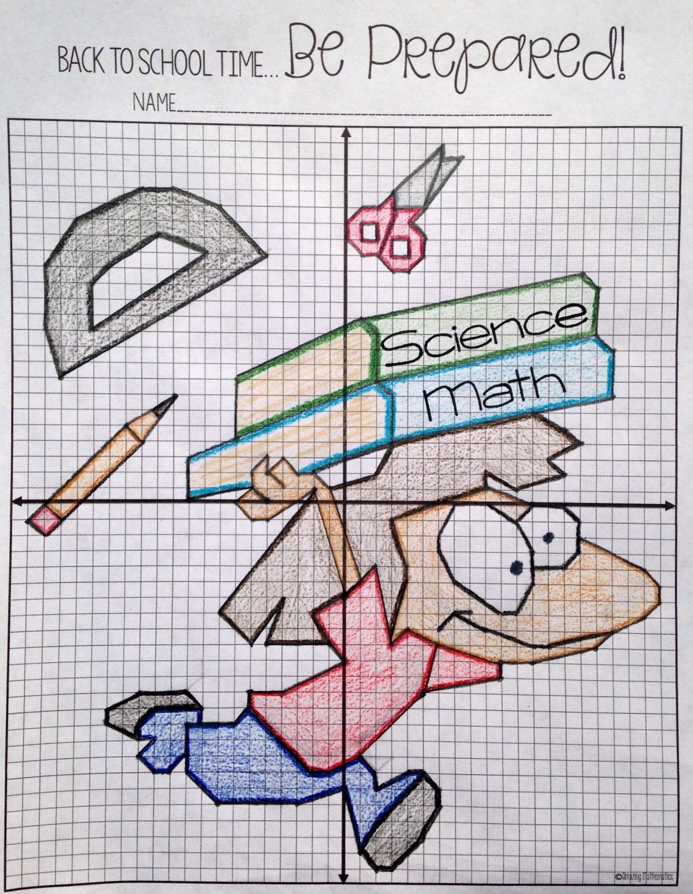 Coordinate Plane Worksheets Middle School Back to School Plotting Points Mystery Picture