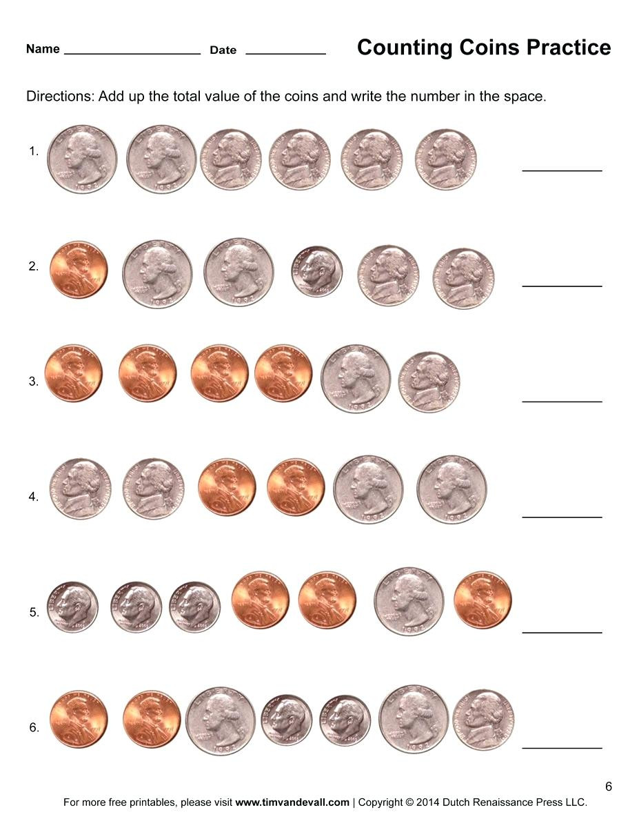 Counting Coins Worksheets 2nd Grade Printable Coins Free Counting Coins Worksheet Counting Money