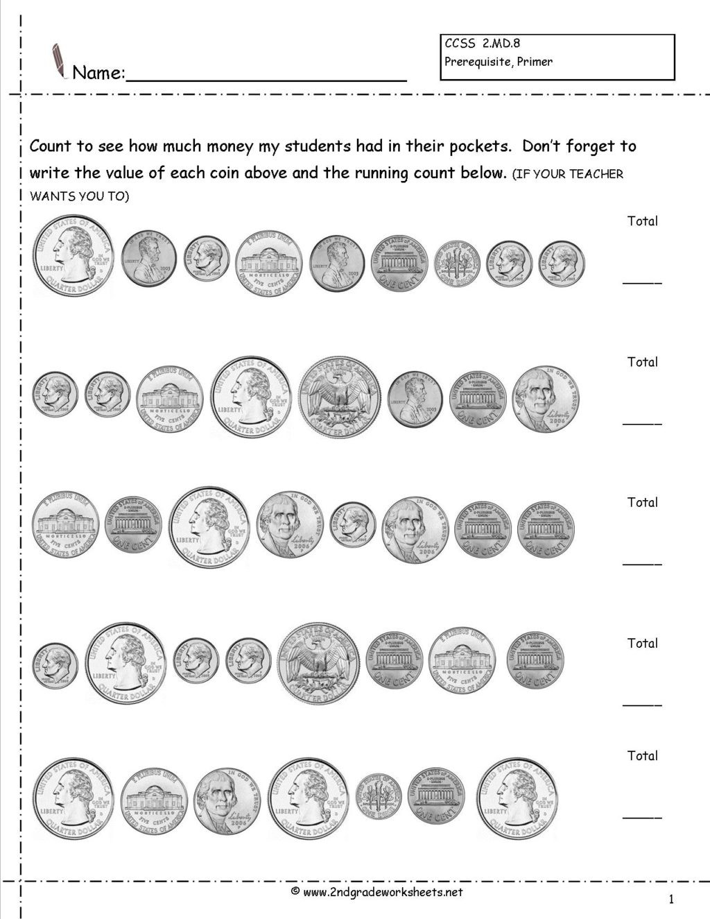 Counting Coins Worksheets 2nd Grade Worksheet Worksheet 2nd Grade Math Worksheets Money