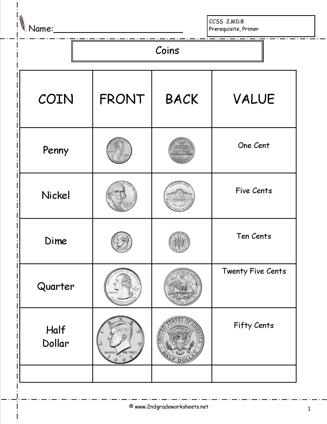Counting Coins Worksheets First Grade Counting Coins and Money Worksheets Printouts Coin for 2nd