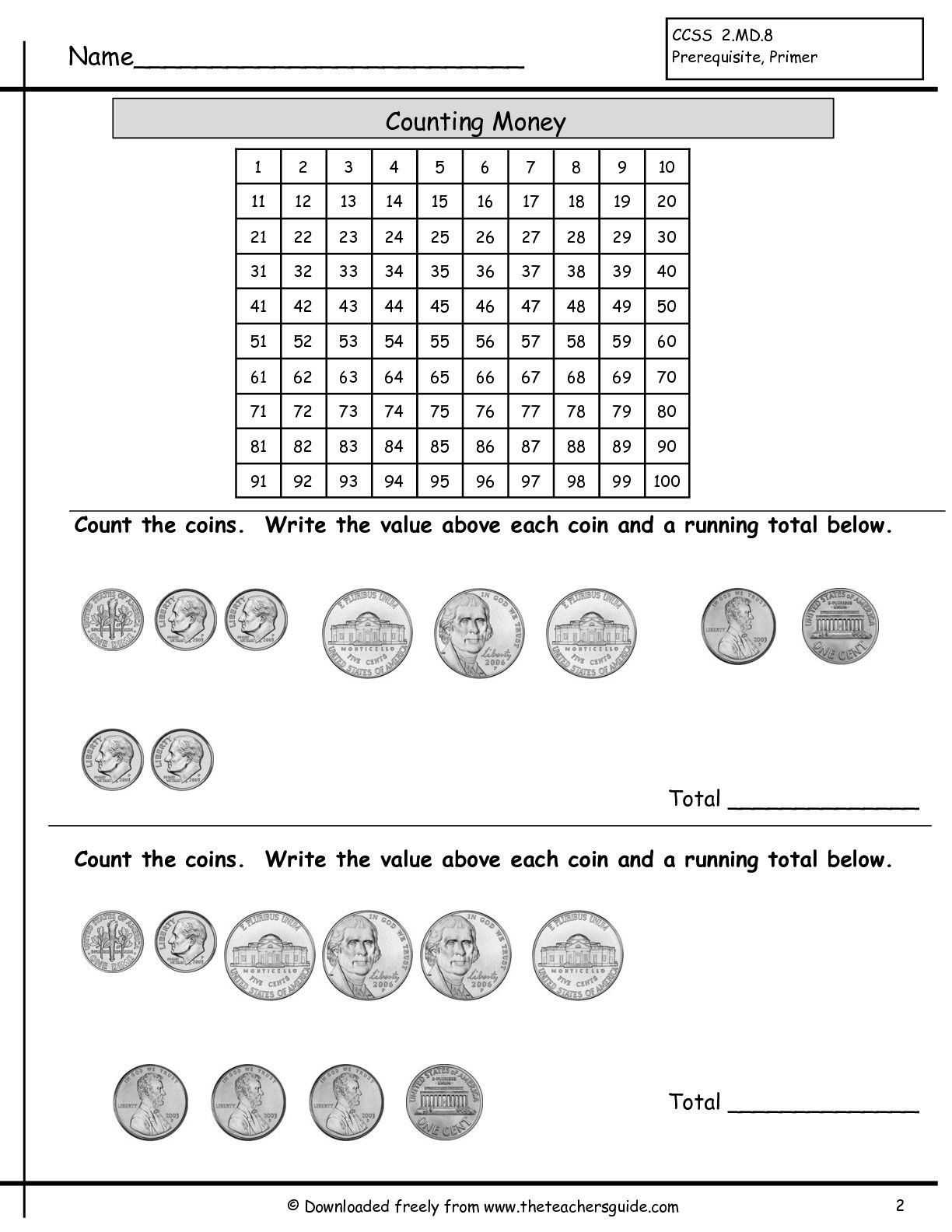 Counting Coins Worksheets First Grade Counting Coins Worksheet