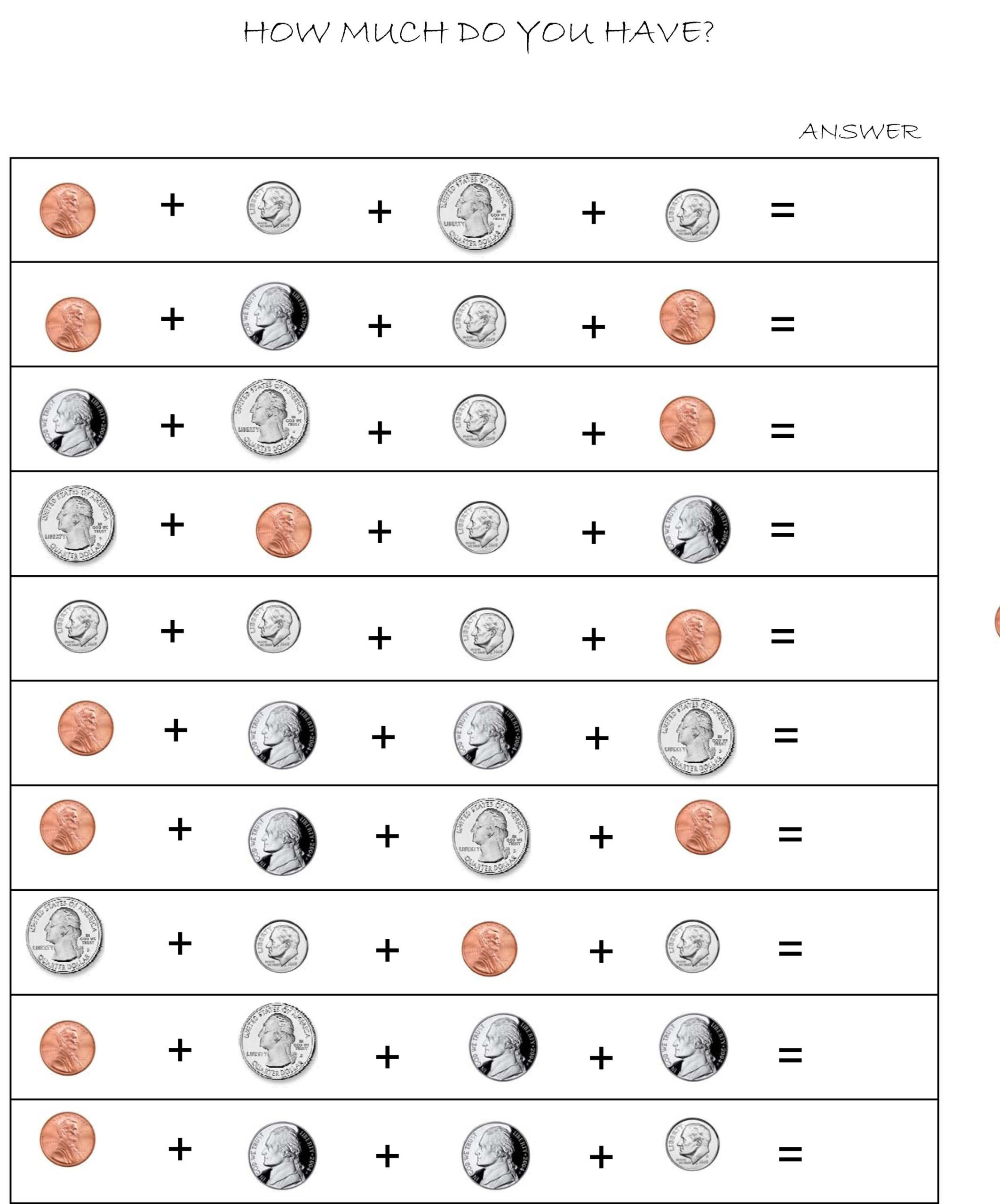 Counting Coins Worksheets First Grade Money Adding Worksheets Counting Moneyadd Basic Math Help