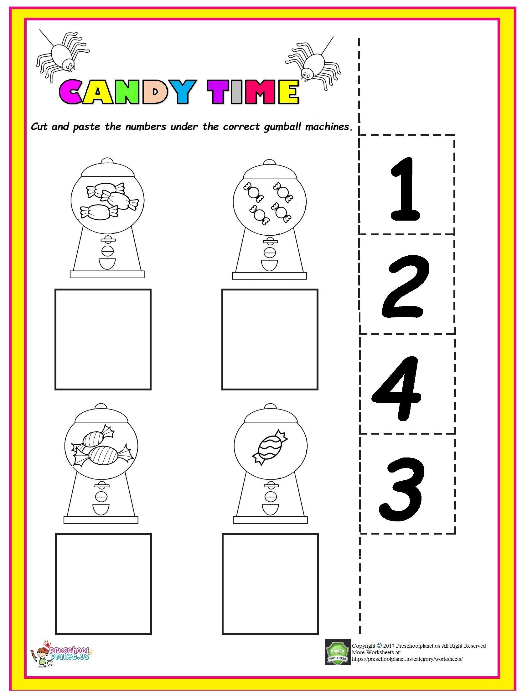 Counting Worksheets Preschool Easy Candy Counting Worksheet