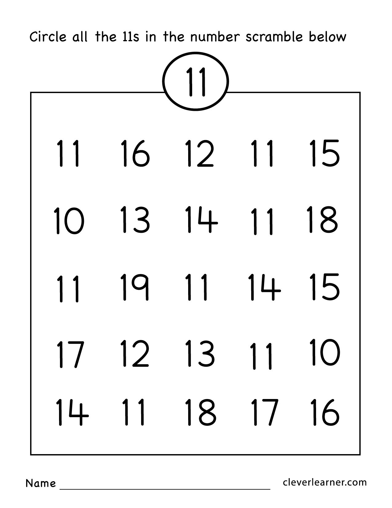 Counting Worksheets Preschool Number Eleven Writing Counting and Identification Printable