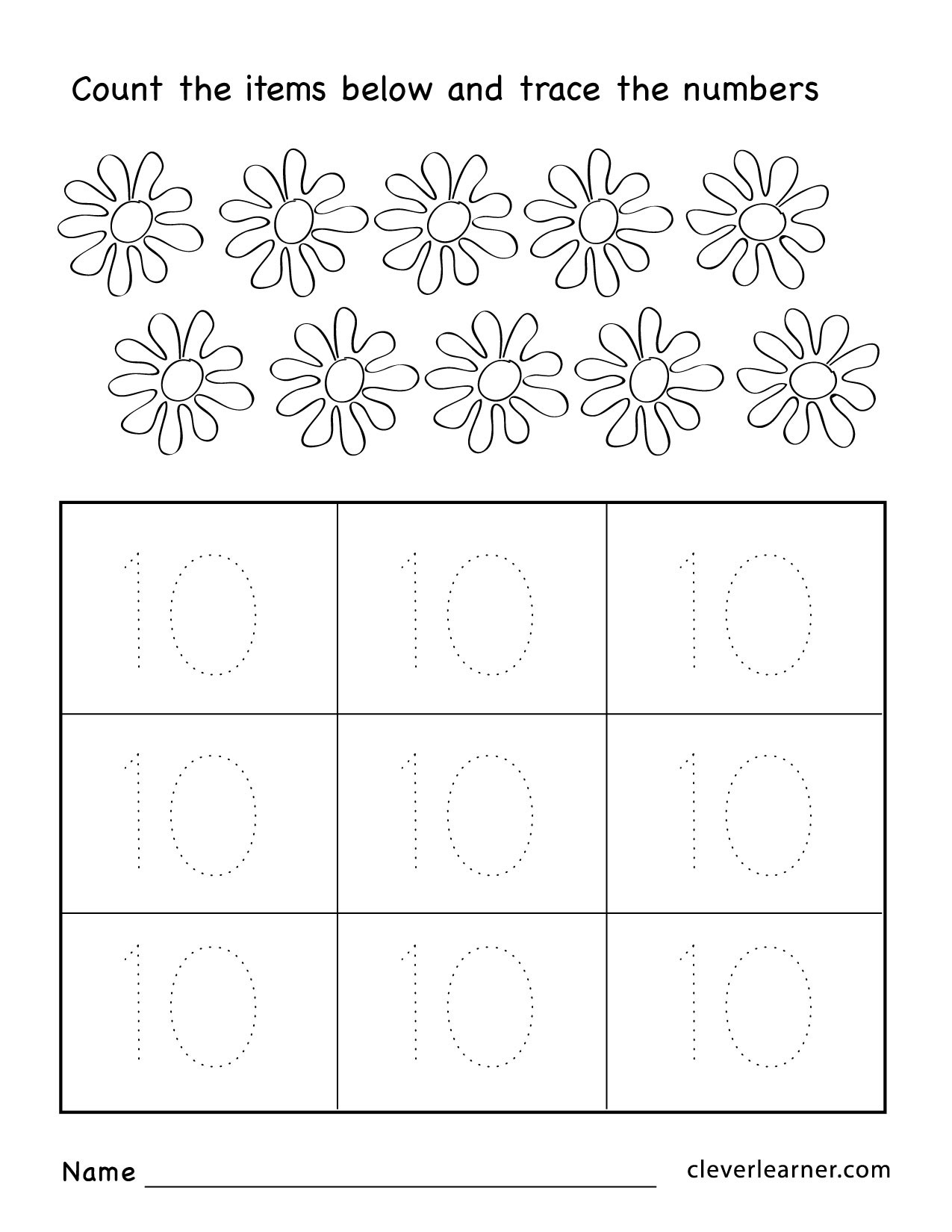 Counting Worksheets Preschool Number Ten Writing Counting and Identification Printable