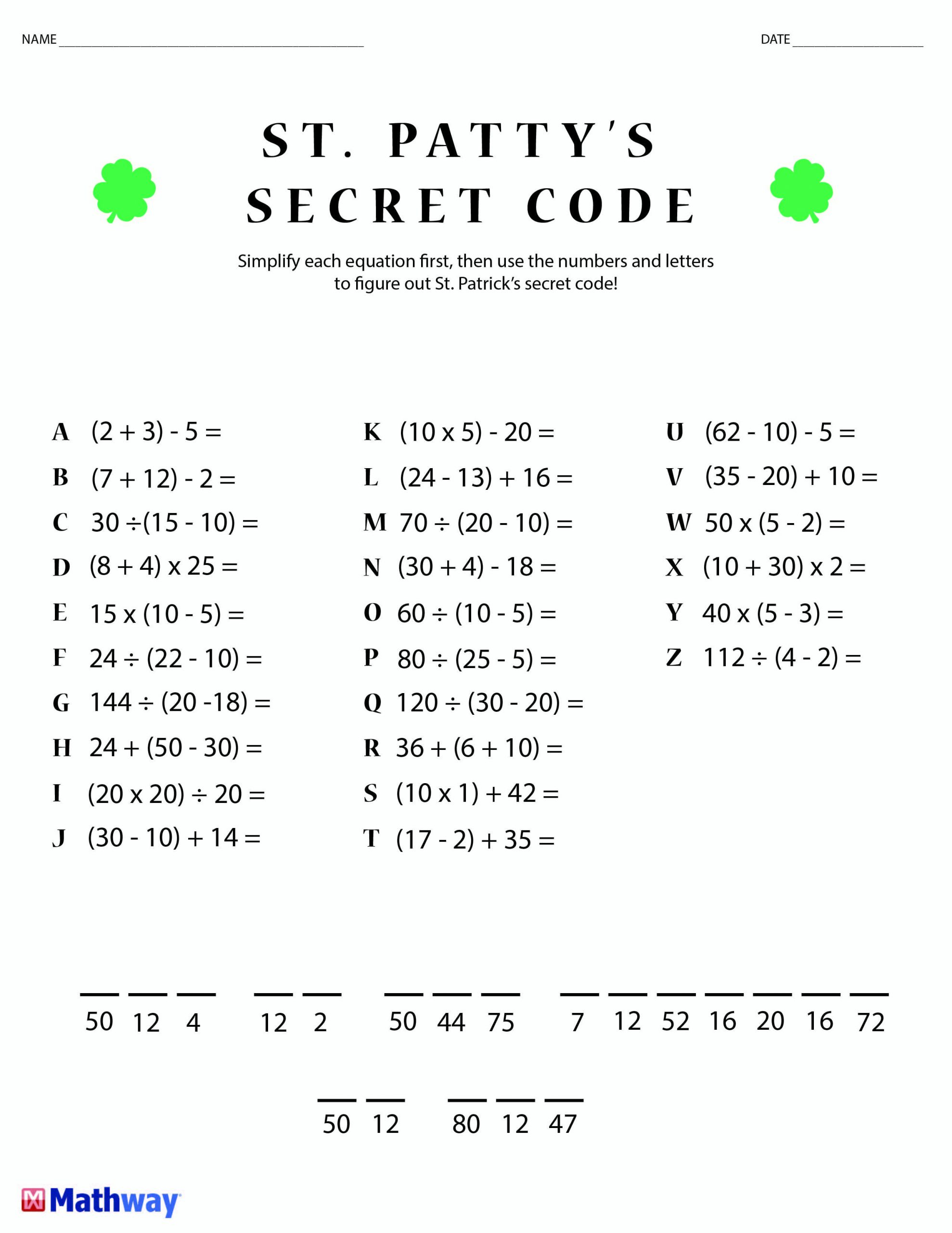 Crack the Code Math Worksheets Pin On Math Worksheets