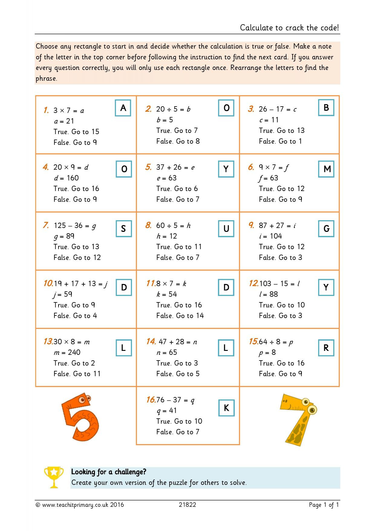 Cracking the Code Math Worksheets Calculate to Crack the Code
