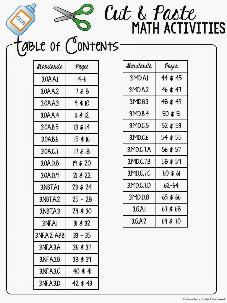 Cut and Paste Math Worksheets Cut and Paste Math Worksheets Third Grade