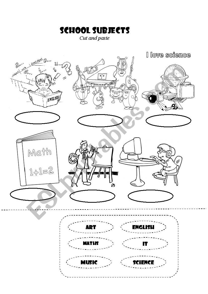 Cut and Paste Math Worksheets Cut and Paste School Subject Esl Worksheet by Firstlove