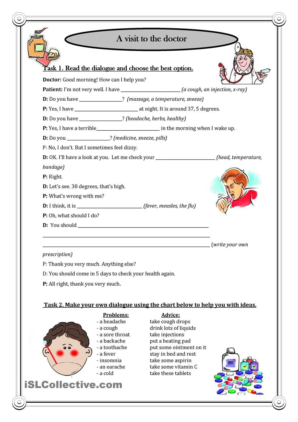 Dialogue Worksheets for Middle School A Visit to the Doctor