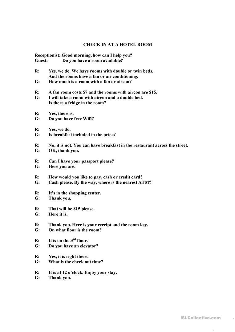 Dialogue Worksheets for Middle School Check In at Hotel or Guesthouse Dialogue Worksheet Free