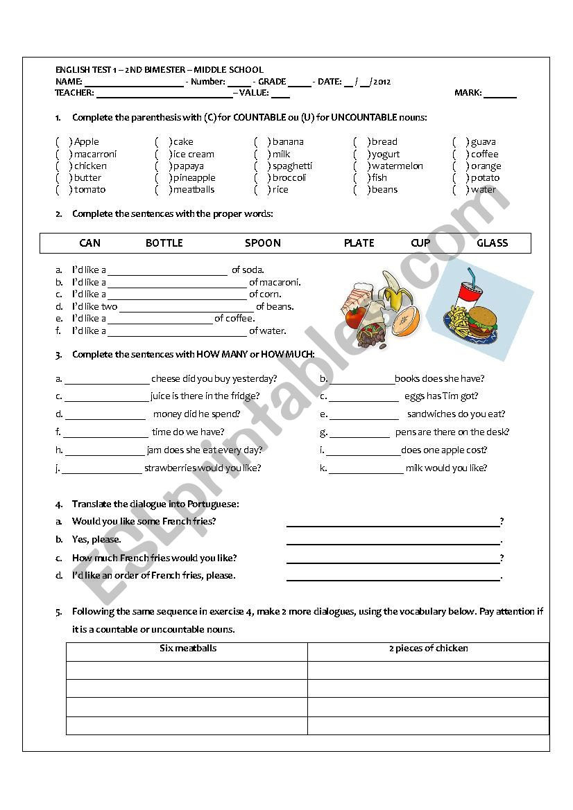 Dialogue Worksheets for Middle School Middle School Test On Countable and Uncountables Nouns Esl