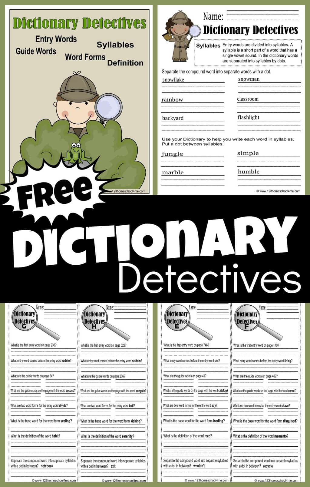 Dictionary Skill Worksheets 3rd Grade Free Dictionary Detective Worksheets for Kids