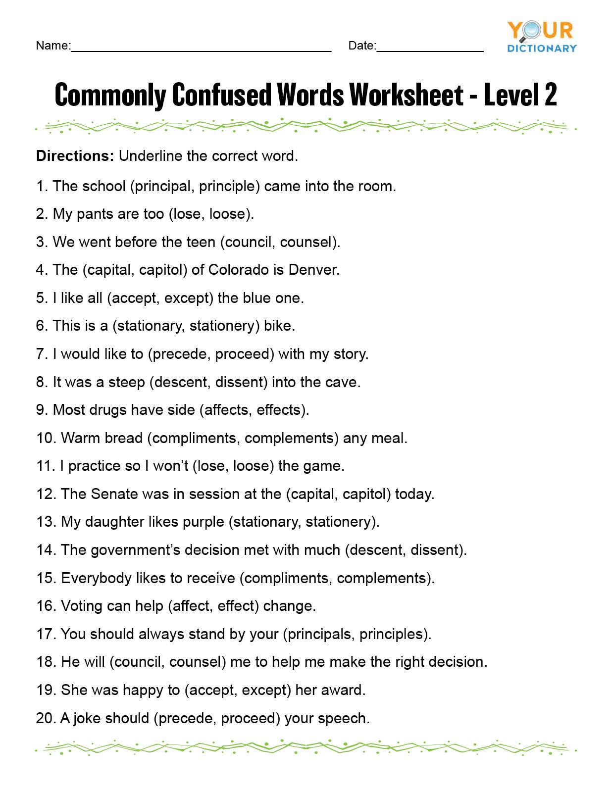 Dictionary Skill Worksheets 3rd Grade Monly Confused Words Worksheet
