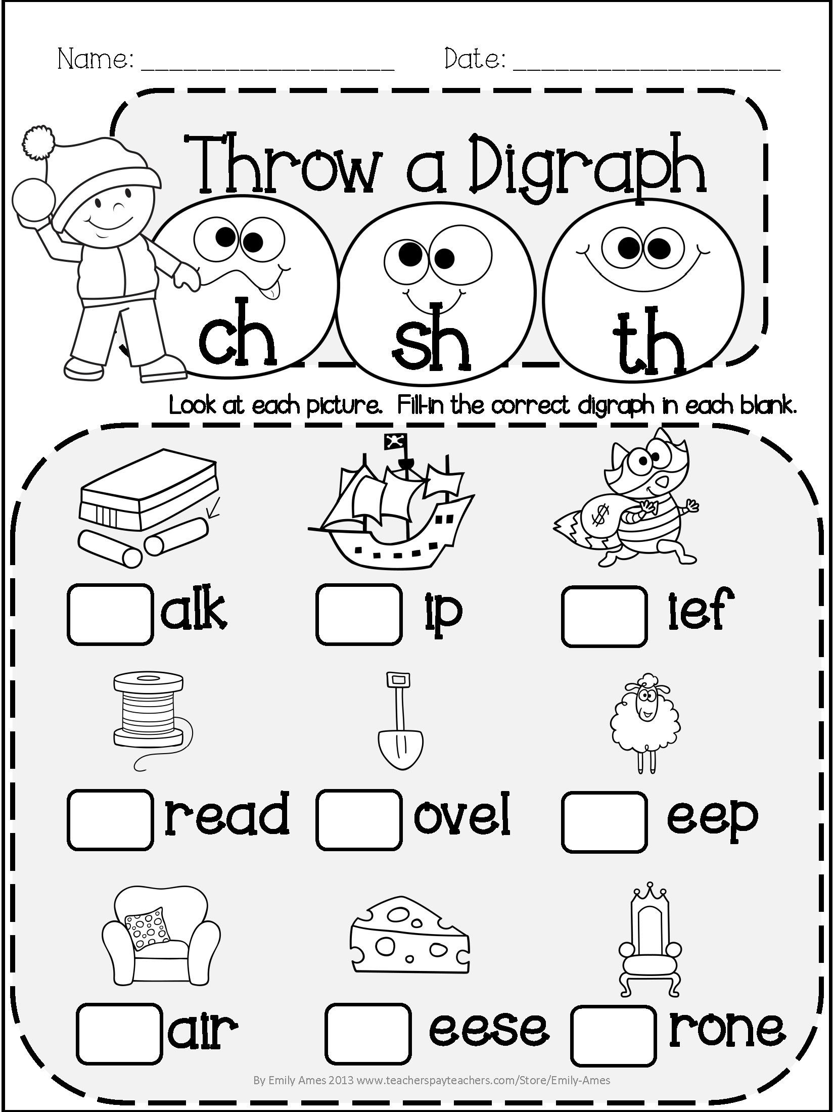 Digraph Worksheets for First Grade Winter Literacy Fun Short & Long Vowels Blends and