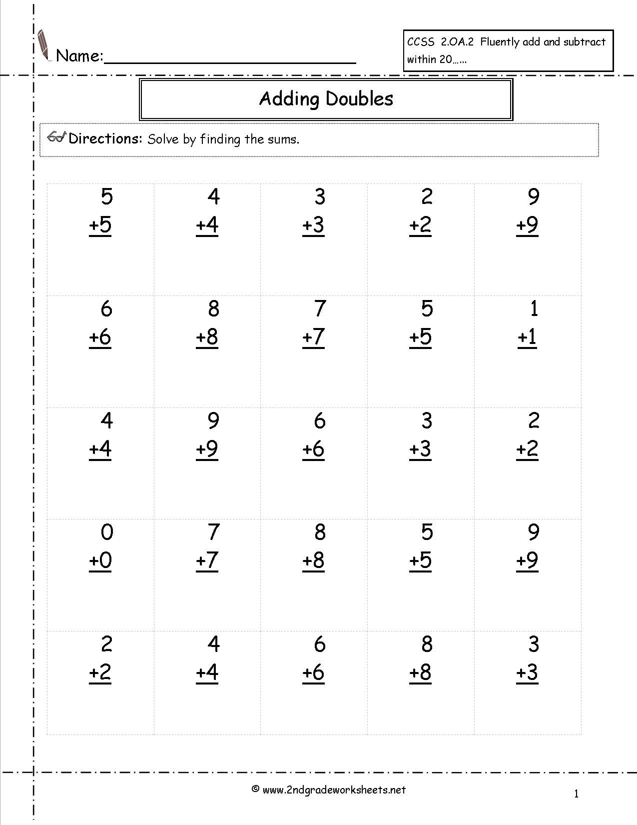Doubles Math Facts Worksheet Doubles Facts Worksheet