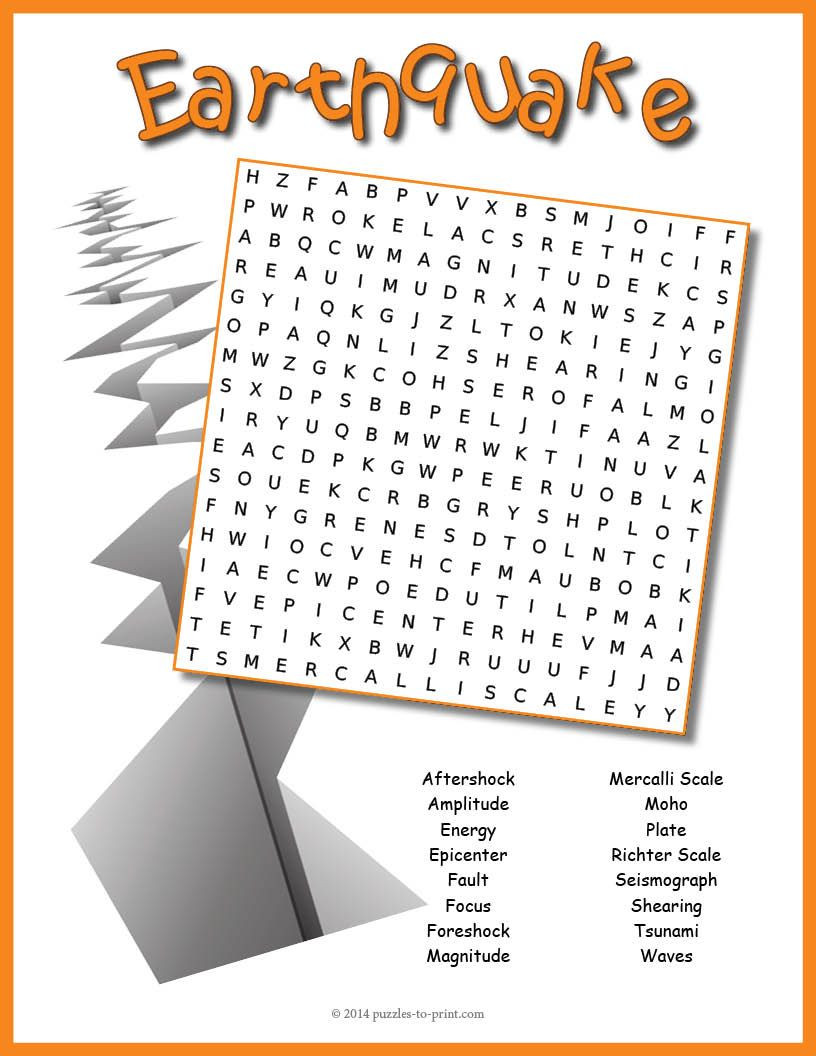 Earthquake Worksheets Middle School A Word Search Puzzle Featuring Earthquake Vocabulary Words